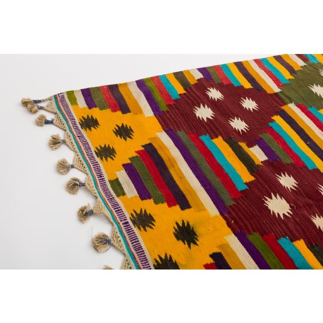 Tribal Multi-Color Striped Cotton Indian Dhurrie Rug For Sale - Image 3 of 8