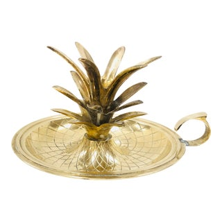 Mid Century Brass Pineapple Candle Holder For Sale