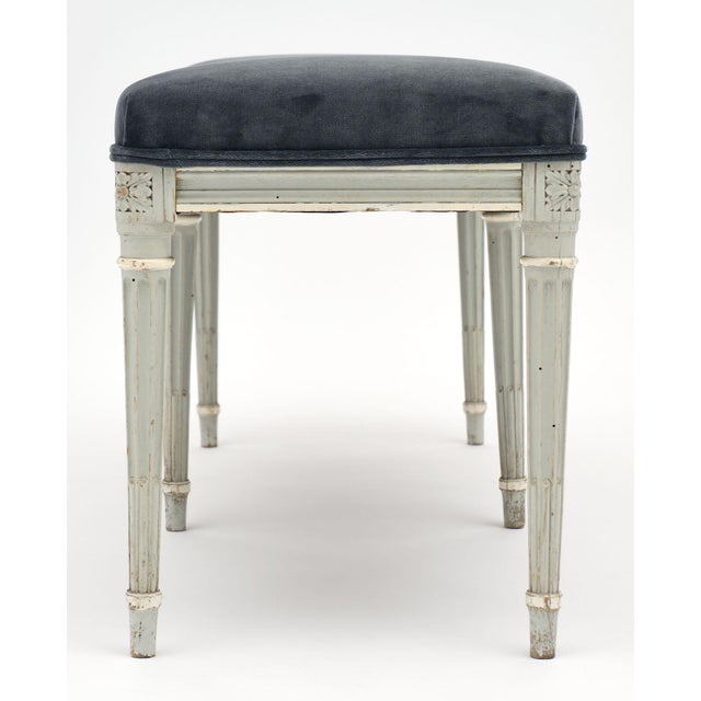 French Louis XVI Style Velvet Piano Bench For Sale - Image 10 of 12