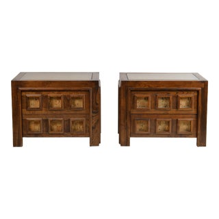Brutalist Stained Oak and Cork Nightstands - a Pair For Sale