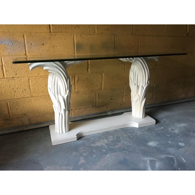 1980s Hollywood Regency Palm Leaf Console Table For Sale - Image 13 of 13