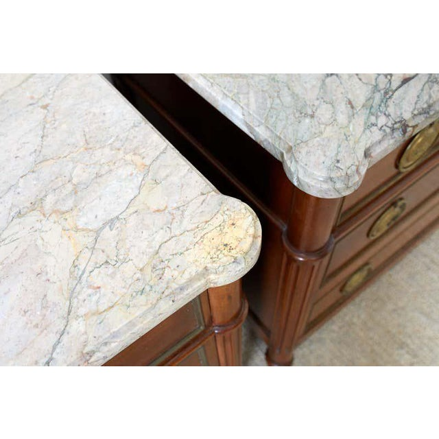 Pair of Louis XVI Style Marble Top Commodes or Dressers For Sale - Image 10 of 13