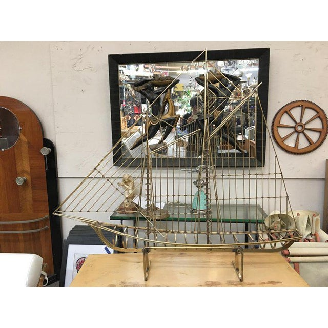 "Nautical Curtis Jere ""Skeleton"" Sailboat Wall Sculpture in Brass For Sale - Image 3 of 9"