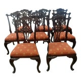 Image of Henredon Furniture Aston Court Carved Mahogany Formal Dining Chairs- Set of 8 For Sale