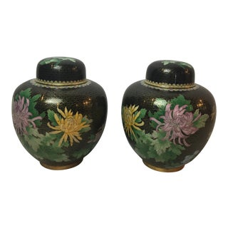 Cherry Blossom Floral Cloisonné Black Ginger Jars - a Pair For Sale