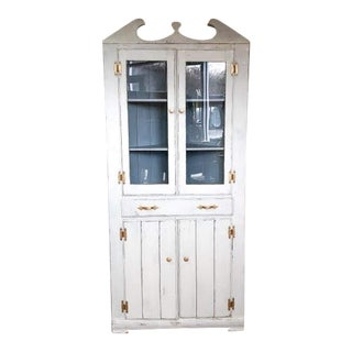 1920s Country White Farmhouse Corner China Cabinet For Sale