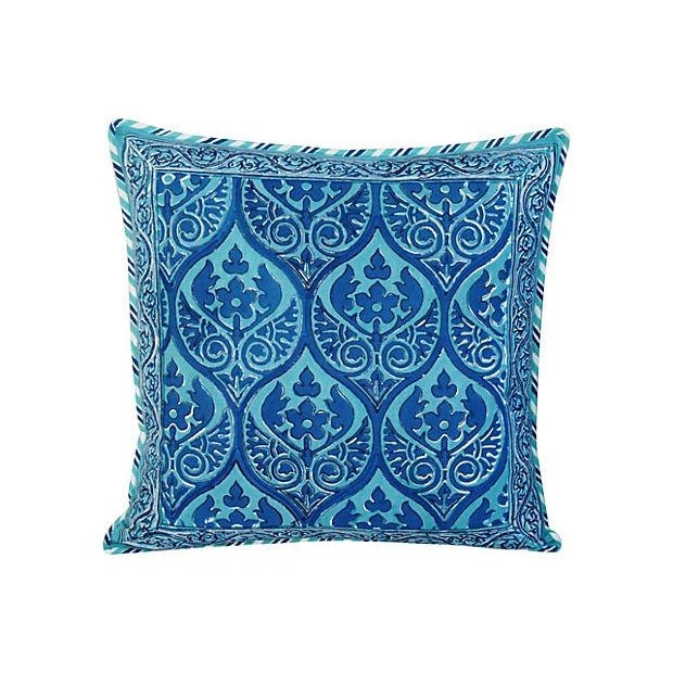 Custom Blue Hand-Blocked & Printed Pillows - Pair - Image 3 of 6