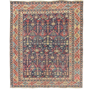 Antique Chi-Chi Rug With Indigo Background and Organic, Geometric Design For Sale