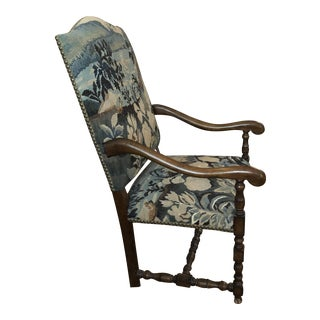 20th Century Louis XIII Style Throne Tapestry & Nailhead Chair- Free Shipping