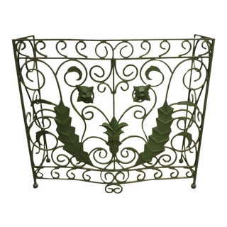 Vintage French Art Nouveau Scrolling Wrought Iron Small Green Console Table Base For Sale