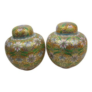 Floral Cloisonné Lidded Ginger Jars - a Pair For Sale