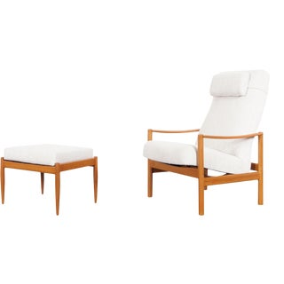 Danish Modern Teak Reclining Lounge Chair and Ottoman - a Pair For Sale