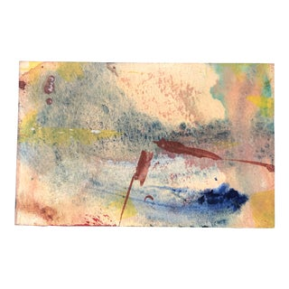 Original Vintage Small Abstract 1970's Watercolor Painting For Sale