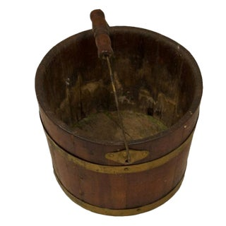 Antique English Oak and Brass Bucket With Handle For Sale
