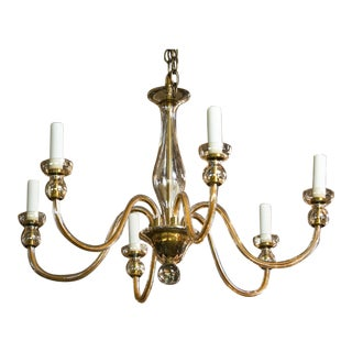 Murano Pale Amber Glass Chandelier For Sale
