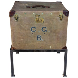 Antique English Luggage Trunk Side Table With Iron Base For Sale