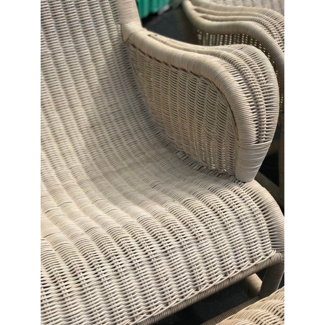 Vintage Coastal Wicker Sling Back Chairs and Ottomans-A Pair For Sale - Image 9 of 13