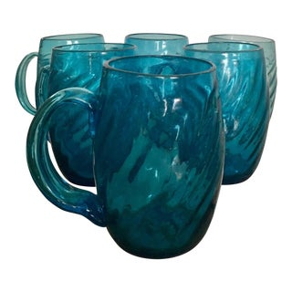 1950s Blenko Aqua Blue Art glassMugs - Set of 6 For Sale