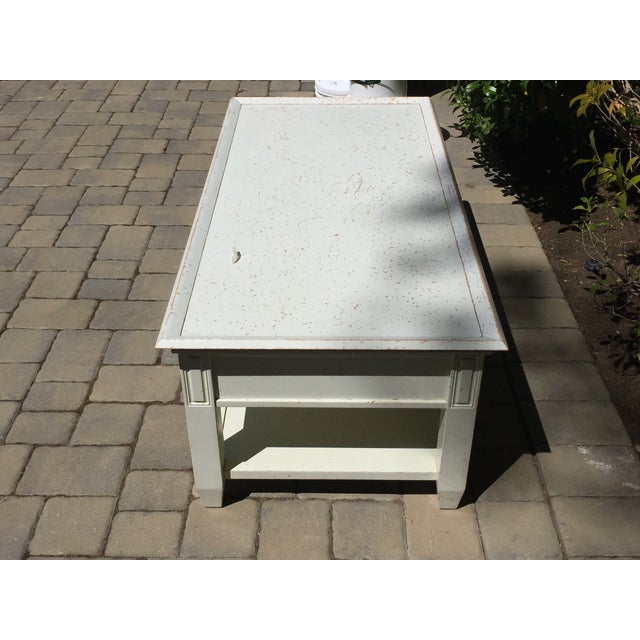 Contemporary Pottery Barn Distressed White Coffee Table For Sale - Image 3 of 3