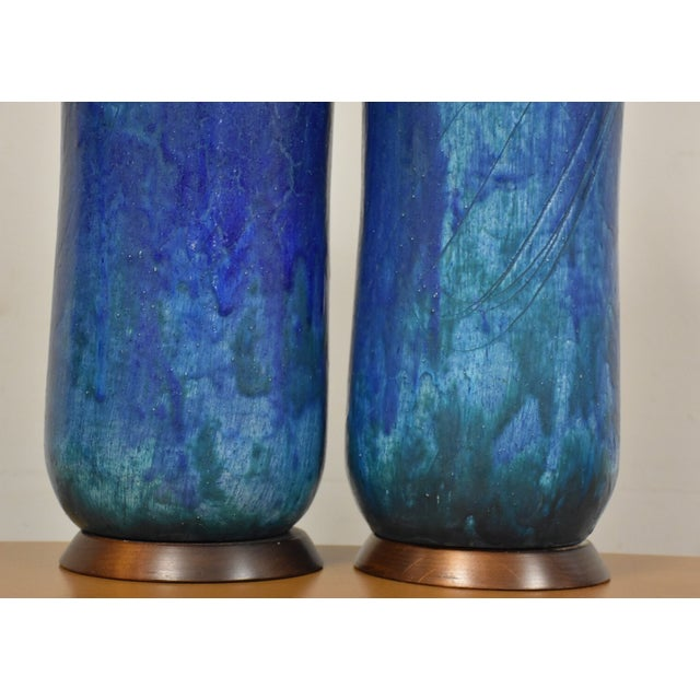 Mid-Century Ceramic Drip Glaze Lamps - A Pair For Sale - Image 5 of 11
