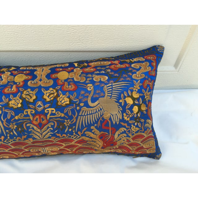 Asian Chinoiserie Silk Crane Boudoir Pillow For Sale - Image 3 of 7