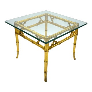 Hollywood Regency Faux Gold Bamboo Side Table For Sale