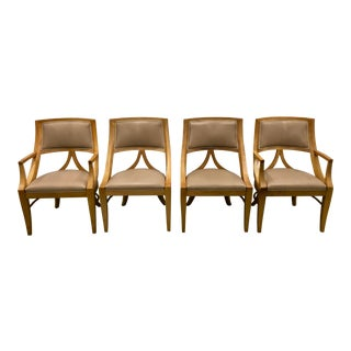 1980s Vintage Baker Light Oak Dining Chairs- Set of 4 For Sale