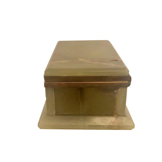Metal 1940s Large Onyx and Bronze Table Box For Sale - Image 7 of 12