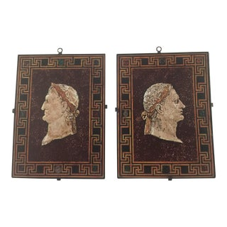 Scagliola and Plaster Panels of Emperors From the Estate of William Curtis - a Pair For Sale