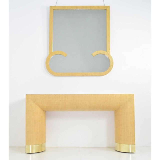 Beige Mid-Century Modern Console and Mirror - 2 Pieces For Sale - Image 8 of 8