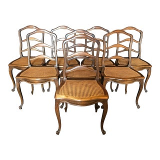 Classic French Carved and Caned Louis XV Walnut Dining Chairs- Set of 6 For Sale