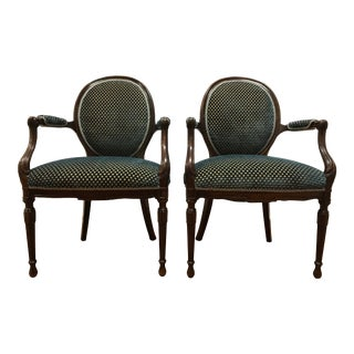 English European Host Pair Oval Balloon Back Mahogany Carved Chairs- a Pair For Sale