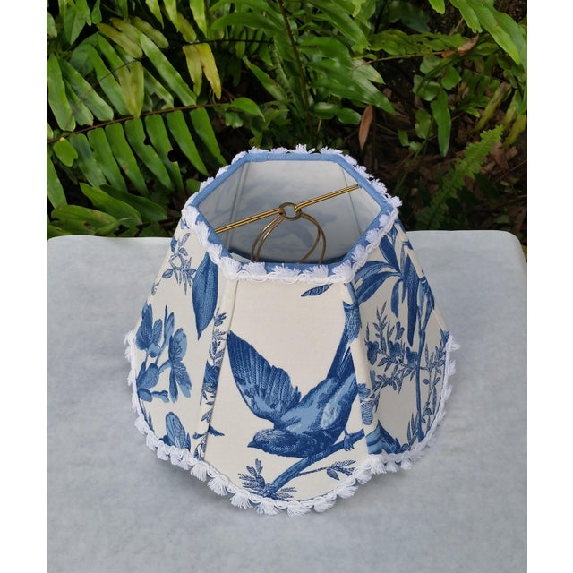 American Blue White Toile Floral Clip On Lamp Shade For Sale - Image 3 of 11