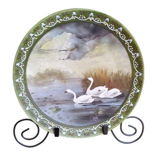 Antique French Limoges Hand Painted Moriage Trimmed Plate For Sale