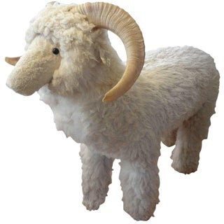 1960s Claude Lalanne Inspired Figurative Shearling Sheep Sculpture / Bench For Sale