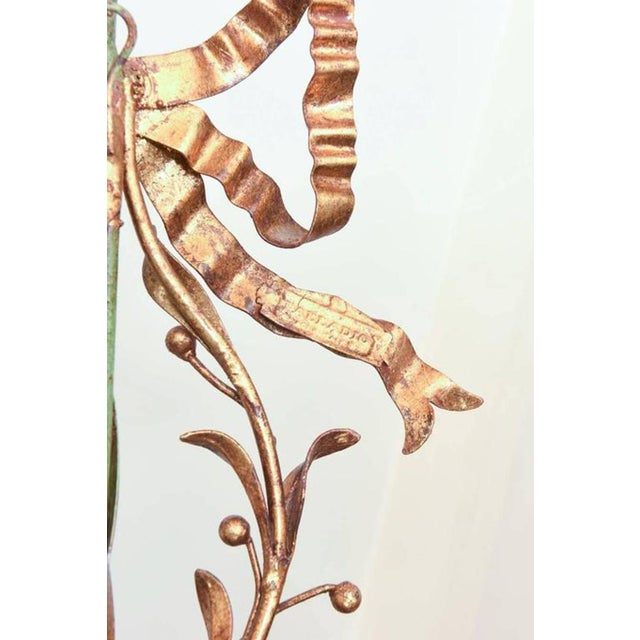 Pair of Italian Painted and Gilded Iron Foliate Sconces For Sale - Image 9 of 9