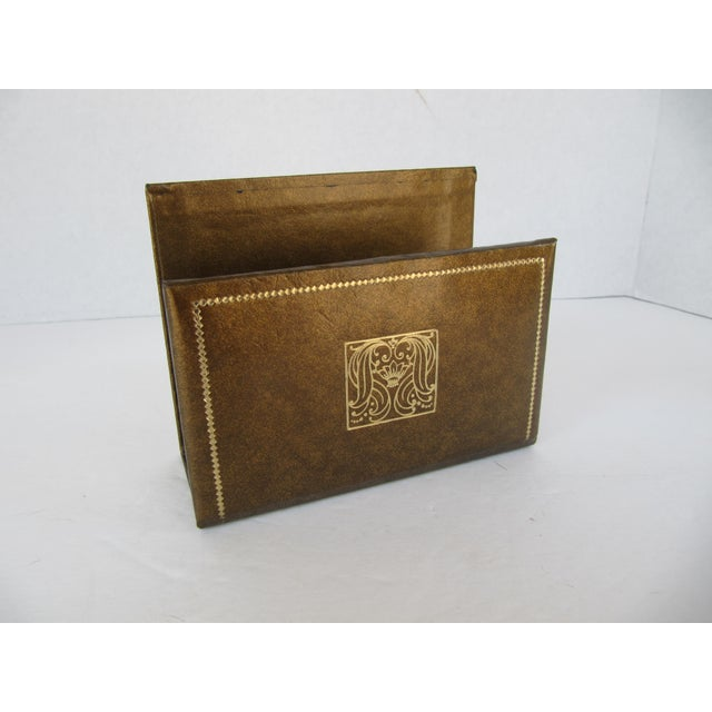 Vintage Leather Letter Holder For Sale - Image 4 of 4