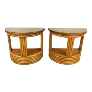 Mid-Century Paul Frankl Pretzel Bamboo Side Tables- A Pair For Sale