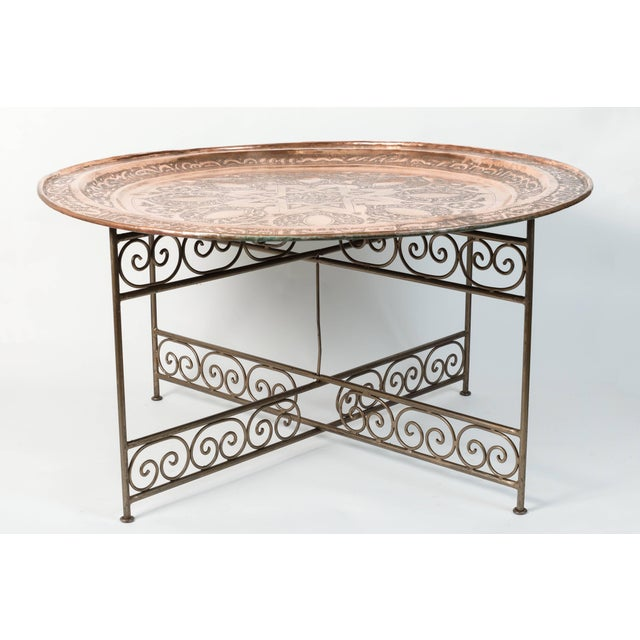 Brass 20th Century Moroccan Round Copper Tray Table on Iron Base For Sale - Image 7 of 7