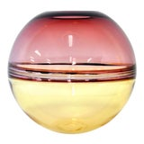 Image of Barbini Amethyst and Amber Murano Glass Incalmo Sphere Vase For Sale