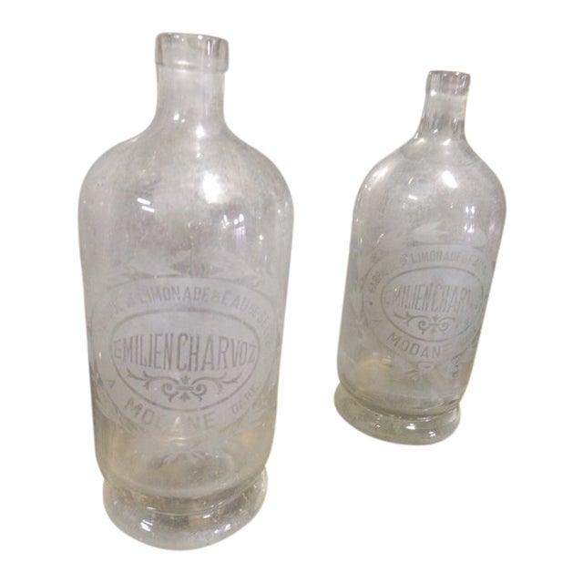Vintage French Etched Lemonade Bottle For Sale