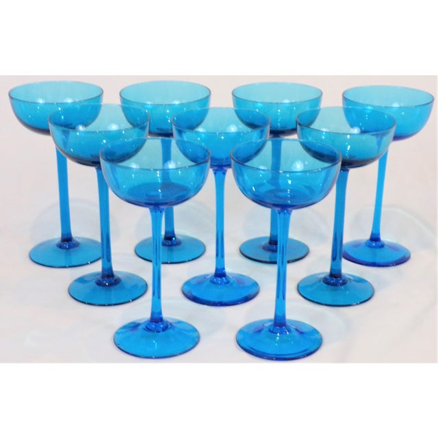 1960s 1960's Italian Blue Champagne Coupes - Set of 9 For Sale - Image 5 of 9