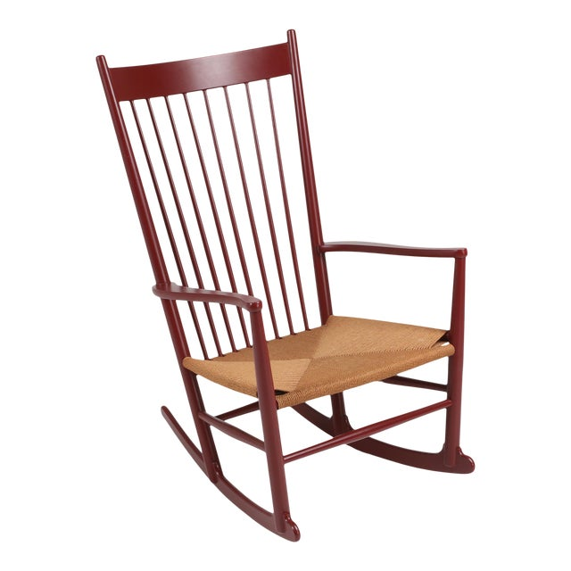 Hans Wegner J16 Rocking Chair in Burgundy For Sale
