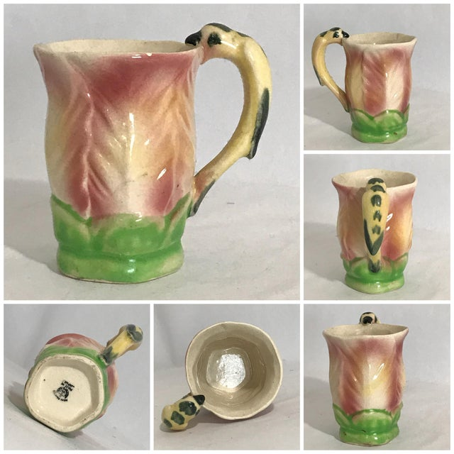 Ceramic Vintage Majolica Hand Painted Bird Parrot Handle Ceramic Pitcher W Cups - 6 Piece Set For Sale - Image 7 of 12