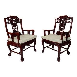 Antique Chinese Chippendale Carved Rosewood Armchairs - A Pair