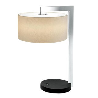 Chicago Satin Black Polished Chrome Table Lamp With Shade For Sale