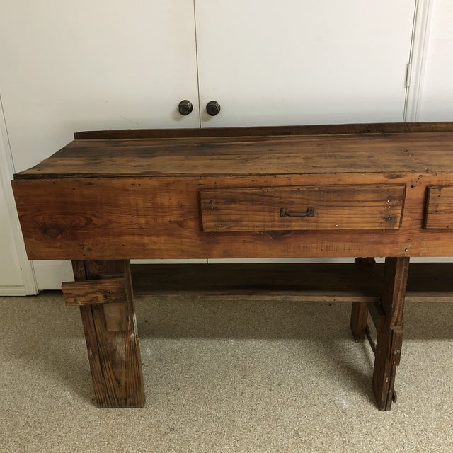 An amazing find in a barn here in TX! Love the color of the wood on this antique work bench. She's been sanded and all...