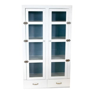 Vintage Primitive White Cottage Style Glass Door Cabinet / Cupboard