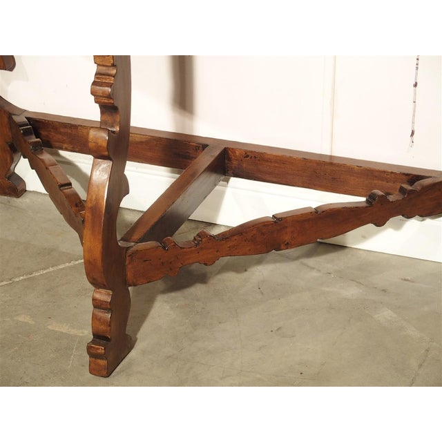 18th Century 18th Century Italian Walnut Wood Demi Lune Console Table For Sale - Image 5 of 13