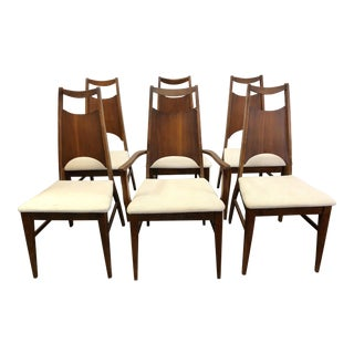 Bassett Collection Aragon Walnut Dining Chairs - Set of 6 For Sale